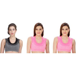Dealseven Black & Pink Plain Sports Bra