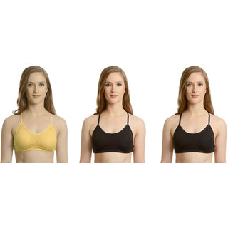 Dealseven Beige & Black Plain Sports Bra