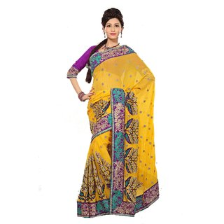 Monalisa Designer Wear Yellow Pure Chiffon Embroidered Saree