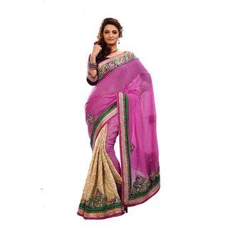 Monalisa Indian Designer Wear Purple & Beige Half Coat Silk Embroidered Saree
