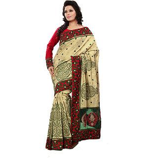 Monalisa Classy Beige Manipuri Silk Embroidered Saree