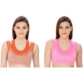 Dealseven Orange & Pink Plain Sports Bra
