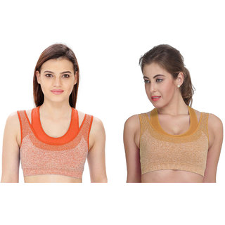 Dealseven Orange & Beige Plain Sports Bra