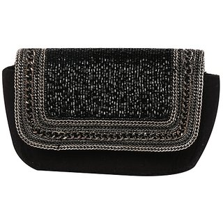 Diwaah Black Self Design Party Clutch