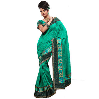 Monalisa Traditional Green Bhagalpuri Jacquard & Taar Border Embroidered Saree