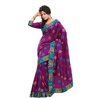 Monalisa Purple Bhagalpuri Embroidered Saree