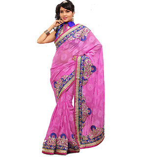 Monalisa Fashionable Pink Marble Jacquard Embroidered Saree