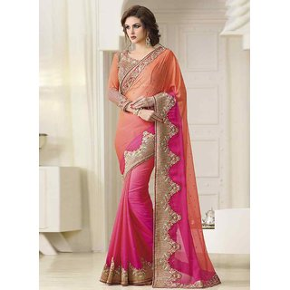 Swaron Peach & Pink Dupion Silk Embroidered Saree With Blouse