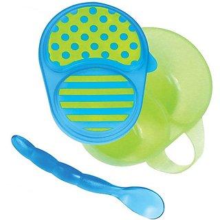Sassy First Solids Feeding Bowl W/ Spoon - Green & Blue