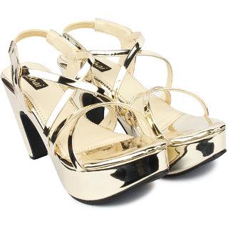 Do Bhai Women Gold Velcro Wedges