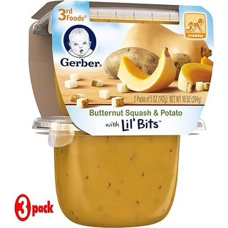 Gerber 3rd Foods 2Pk 284G (10oz) - Butternut Squash & Potato With Little Bits (Pack of 3)