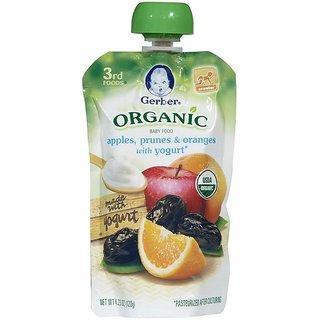 Gerber 3rd Foods 120G (4.23oz) - Organic Apples, Prunes & Oranges With Yogurt