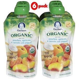 Gerber 3rd Foods 120G (4.23oz) - Organic Peaches Apricots & Carrots Yogurt (Pack of 6)