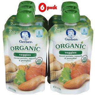 Gerber 2nd Foods 99G (3.5oz) - Organic Sweet Potato, Squash & Pumpkin (Pack of 6)