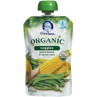 Gerber 2nd Foods 99G (3.5oz) - Organic Green Beans & Sweet Corn
