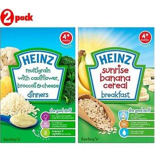 Heinz Cereals Combo (Pack of 2) MG Cauliflower & Broccoli Cheese + Sunrise Banana Porridge
