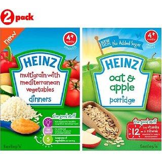 Heinz Cereals Combo (Pack of 2) Multigrain With Mediterranean Vegetables + Oat & Apple Porridge