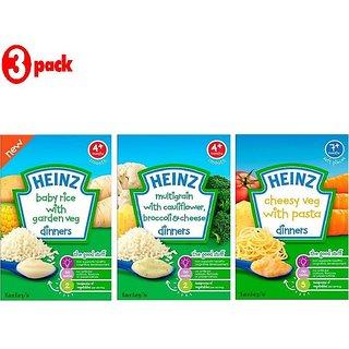 Heinz Cereals Combo (Pack of 3) Baby Rice with Garden Veg + Multigrain Cauliflower & Broccoli + Cheesy Veg Pasta
