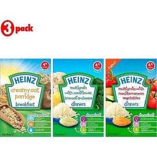Heinz Cereals Combo (Pack of 3) Creamy Oat Porridge + MG Cauliflower & Broccoli Cheese + Multigrain With Mediterranean Vegetables