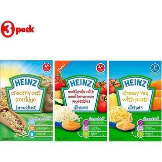 Heinz Cereals Combo (Pack of 3) Creamy Oat Porridge + Multigrain With Mediterranean Vegetables + Cheesy Veg Pasta