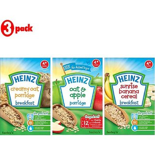 Heinz Cereals Combo (Pack of 3) Creamy Oat Porridge + Oat & Apple Porridge + Sunrise Banana Porridge