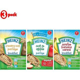Heinz Cereals Combo (Pack of 3) Creamy Oat Porridge + Oat & Apple Porridge + Sunrise Banana Porridge