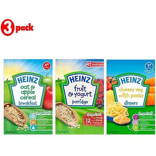 Heinz Cereals Combo (Pack of 3) Fruit & Yogurt Porridge + Oat & Apple Porridge + Cheesy Veg Pasta