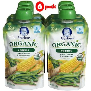 Gerber 2nd Foods 99G (3.5oz) - Organic Green Beans & Sweet Corn (Pack of 6)