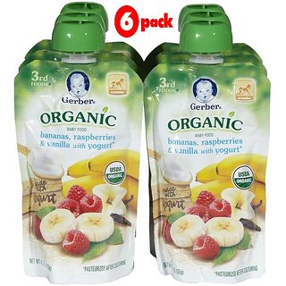 Gerber 3rd Foods 120G (4.23oz) - Organic Bananas, Rasberries & Vanilla Yogurt (Pack of 6)