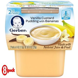 Gerber 2nd Foods 2Pk 226G (8oz) - Vanilla Custard Pudding With Bananas (Pack of 8)