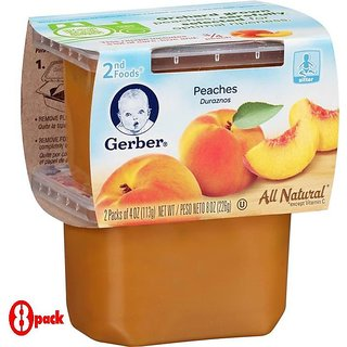 Gerber 2nd Foods 2Pk 226G (8oz) - Peaches (Pack of 8)