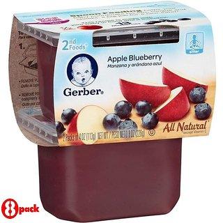 Gerber 2nd Foods 2Pk 226G (8oz) - Apple Blueberry (Pack of 8)