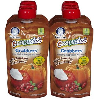 Gerber Graduates GraBBers 120G (4.23oz) - Apple, Pumpkin & Cranberry (Pack of 6)