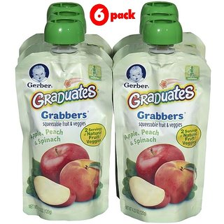 Gerber Graduates GraBBers 120G (4.23oz) - Apple, Peach & Spinach (Pack of 6)