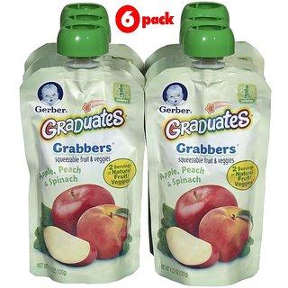 Gerber Graduates GraBBers 120G (4.23oz) - Apple, Peach & Spinach (Pack of 6)