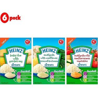 Heinz Cereals Combo (Pack of 6) 2 Baby Rice Garden Veg + 2 MG Cauliflower & Broccoli + 2 MG Mediterranean Vegetables
