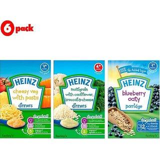 Heinz Cereals Combo (Pack of 6) 2 Cheesy Veg Pasta + 2 MG Cauliflower & Broccoli + 2 Blueberry Oaty Porridge