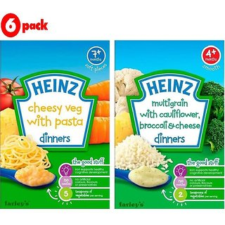 Heinz Cereals Combo (Pack of 6) 3 Cheesy Veg Pasta + 3 MG Cauliflower & Broccoli