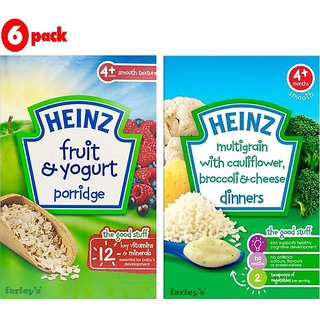 Heinz Cereals Combo (Pack of 6) 3 Fruit & Yogurt + 3 MG Cauliflower & Broccoli Cheese
