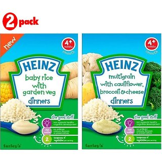Heinz Cereals Combo (Pack of 2) (4m+) Baby Rice Garden Veg + Multigrain Cauliflower & Broccoli