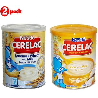 Nestle Cerelac Combo 400G (Pack of 2) Banana & Wheat + Rice with Milk