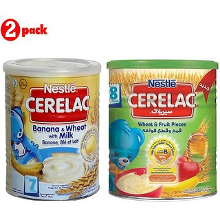 Nestle Cerelac Combo 400G (Pack of 2) Banana & Wheat + Wheat & Fruit Pieces