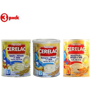 Nestle Cerelac Combo 400G (Pack of 3) Apple + Banana + Mixed Fruits