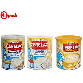 Nestle Cerelac Combo 400G (Pack of 3) Banana & Wheat + Mixed Veg & Rice + Rice with Milk