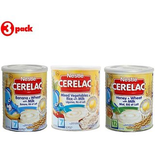Nestle Cerelac Combo 400G (Pack of 3) Banana & Wheat + Mixed Veg & Rice + Honey & Wheat