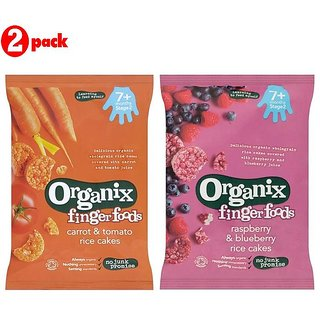 Organic Finger Foods Combo (Pack of 2) - Carrot & Tomato Rice Cakes + Rasberry & Blueberry Rice Cakes