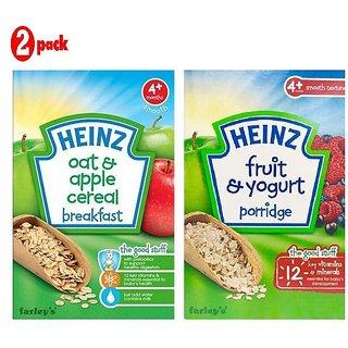 Heinz Cereals Combo (Pack of 2) (4m+) Oat & Apple Porridge + Fruit & Yogurt Porridge
