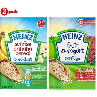 Heinz Cereals Combo (Pack of 2) (4m+) Sunrise Banana Porridge + Fruit & Yogurt Porridge