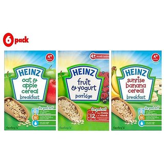 Heinz Cereals Combo (Pack of 6) (4m+) 2 Oat & Apple + 2 Fruit & Yogurt + 2 Sunrise Banana