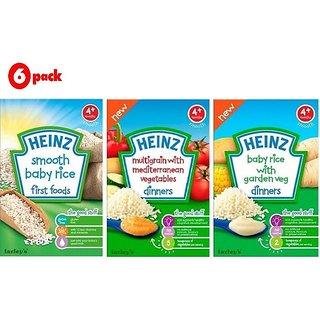 Heinz Cereals Combo (Pack of 6) (4m+) 2 Smooth Baby Rice + 2 MG Medi Veg + 2 Baby Rice Garden Veg